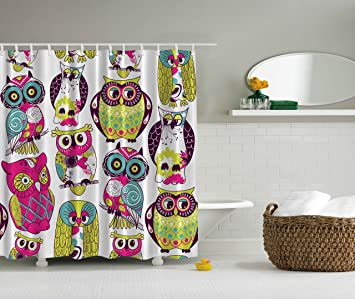 Kids Bathroom Shower Curtain By Ambesonne Owl Decor Owls Eyes With Funny Cute Best Friends