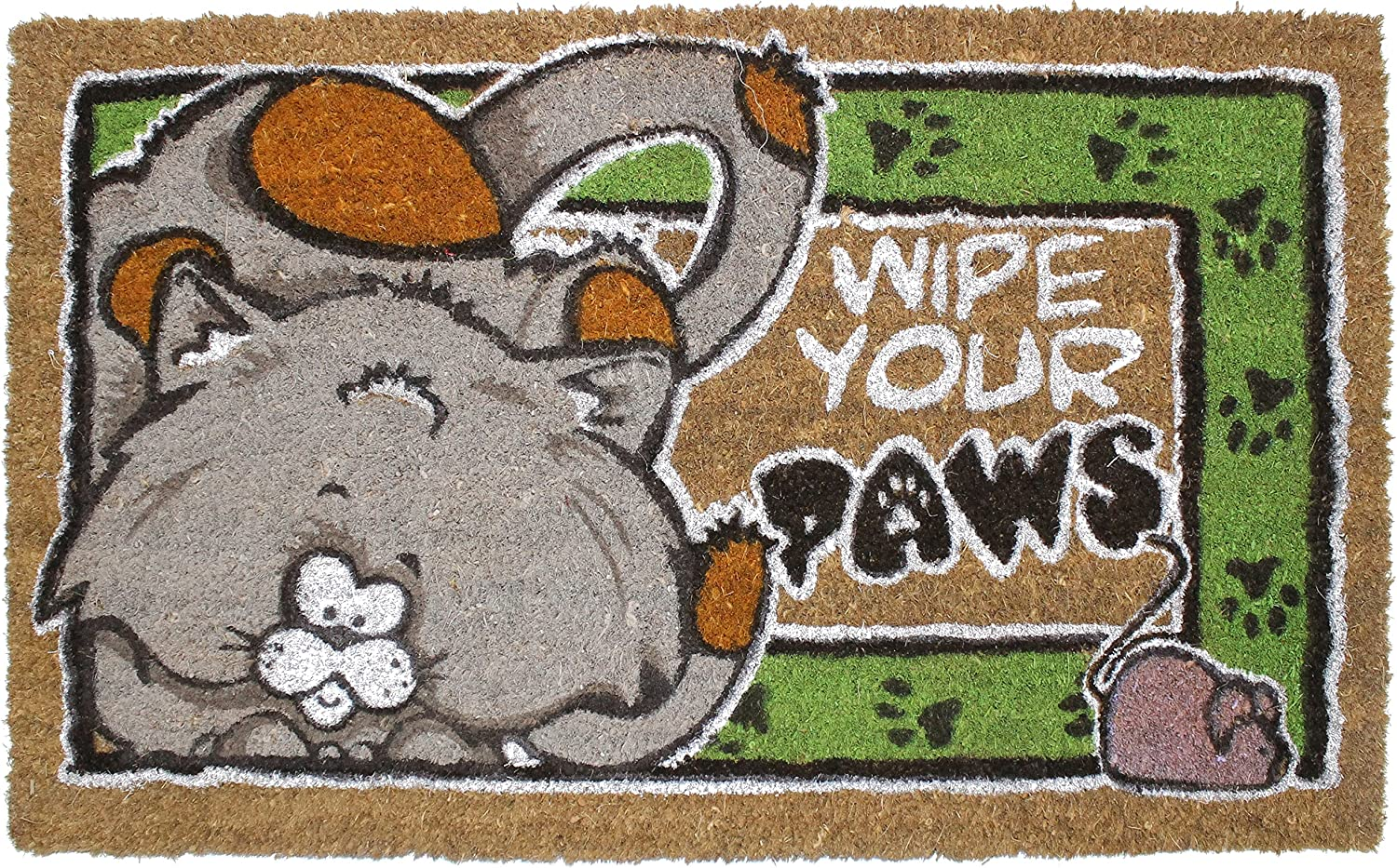 J&M Home Fashions Natural Coir Coco Fiber Non-Slip Outdoor/Indoor Doormat, 18x30, Wipe Your Cat Paws