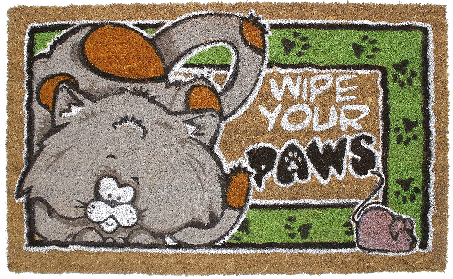 "J&M Home Fashions Pet Friendly Accent Mat, 18x30"", Heavy Duty Entry Way Doormat or Shoes Scraper Patio Rug Dirt Debris Mud Trapper Waterproof - Wipe Your Cat Paws"