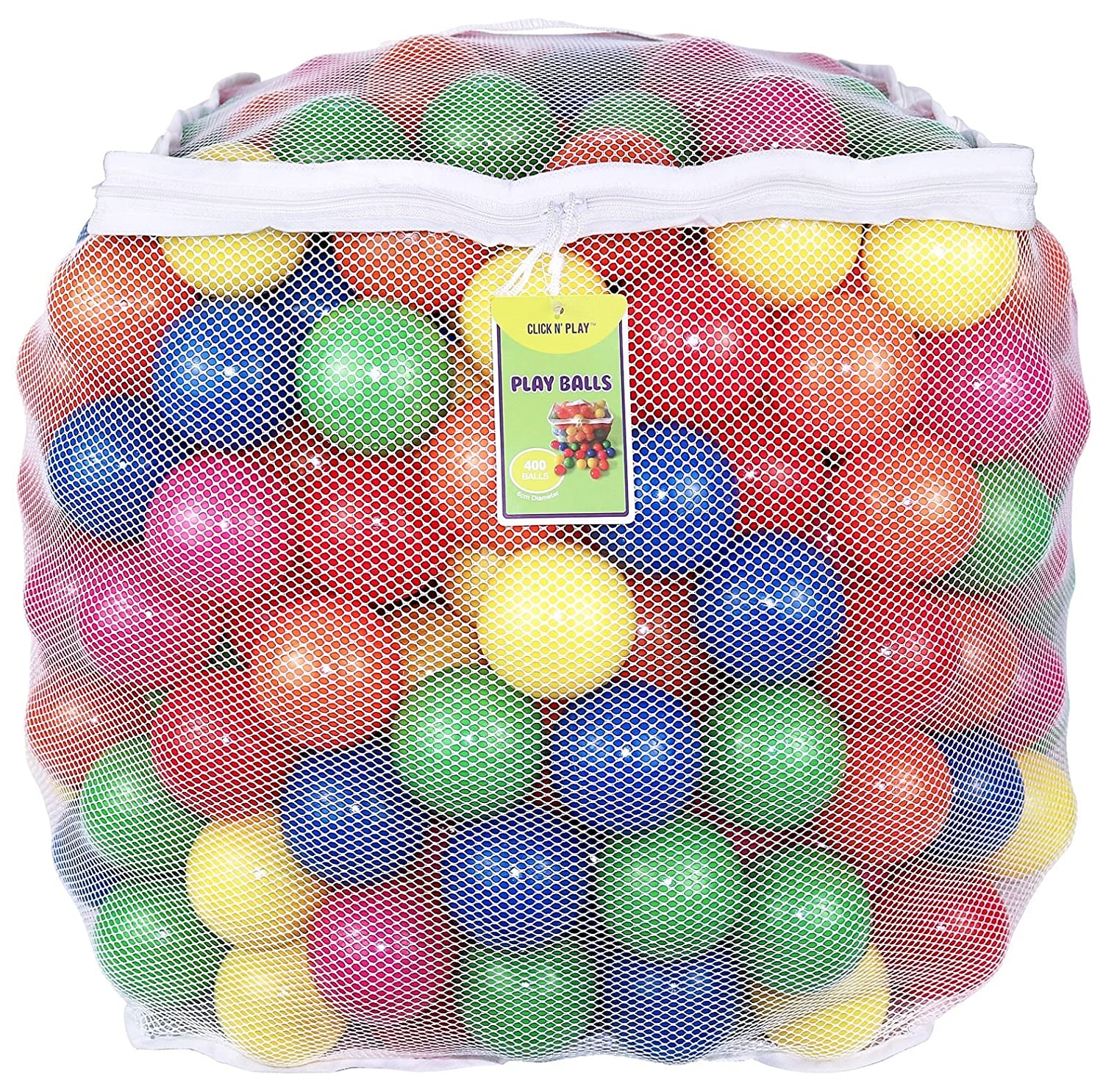 Click Nu0027 Play Value Pack Of 400 Phthalate Free BPA Free Crush Proof Plastic  Ball, Pit Balls   6 Bright Colors In Reusable And Durable Storage Mesh Bag  With ...