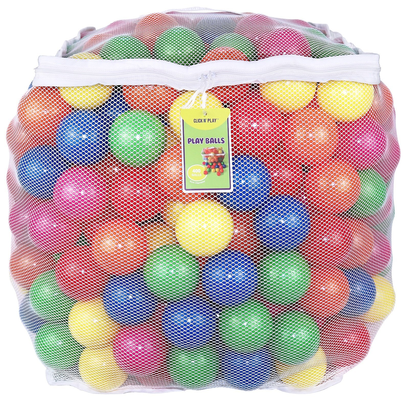 Click N' Play Value Pack of 400 Phthalate Free BPA Free Crush Proof Plastic Ball, Pit Balls - 6 Bright Colors in Reusable and Durable Storage Mesh Bag with Zipper by Click N' Play