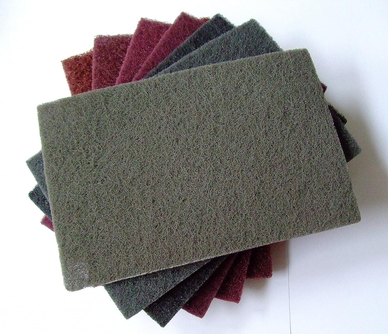 almohadillas de vellón 152 x 229 mm Matte Vellón 7 unidades – Set Mix grano 80 – 800 para madera, acero inoxidable, Inox uvm.. … Inox uvm.. ... Olbrich-Industriebedarf