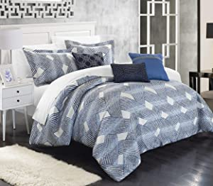 Chic Home 6 Piece Fiorella New Luxury Jacquard Collection Comforter Set, Queen, Blue
