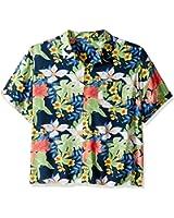 Cubavera Men's Big and Tall Short Sleeve Camp Retro Print Woven Shirt