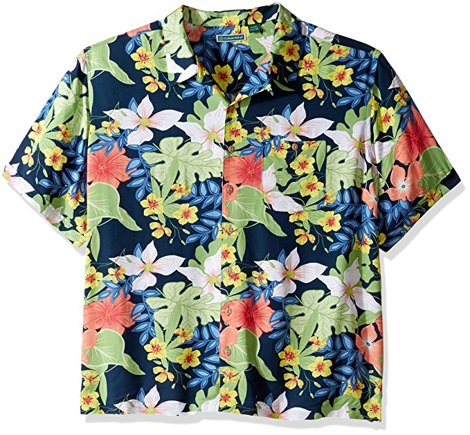 e1036eff9a Cubavera Men s Tall Short Sleeve 100% Rayon Tropical Floral Print Cuban  Camp Shirt