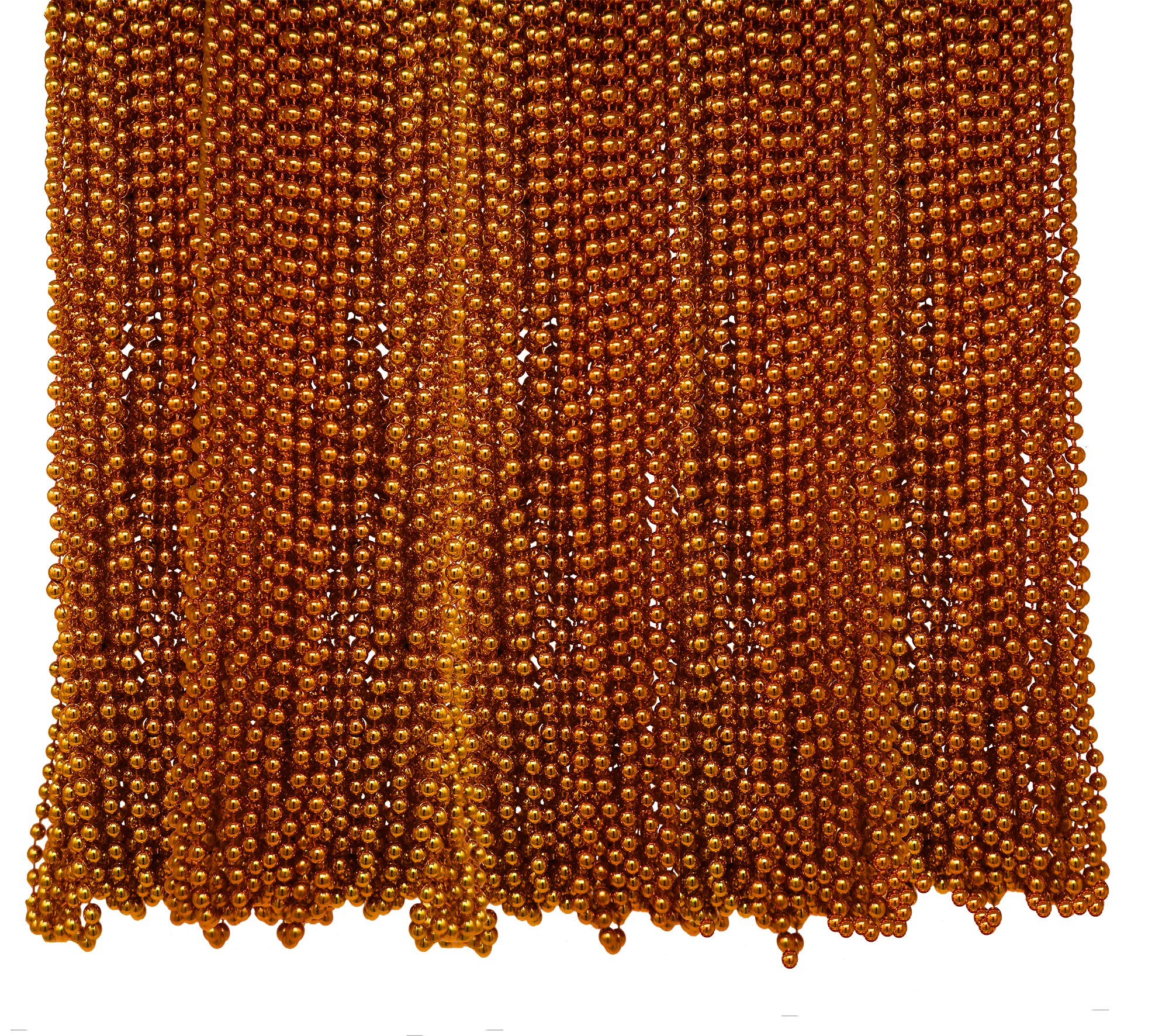 4E's Novelty Bulk Pack of 72 Orange Beads Necklace 33 Inches Long 7mm Thick, Great for Halloween, Mardi Gras, Trick or Treat Party Favors, Costume Accessory Supplies by 4E's Novelty