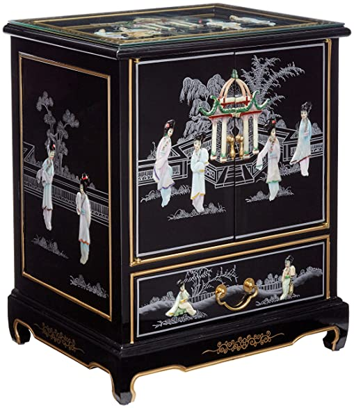 Attractive Oriental Furniture Black Lacquer End Table