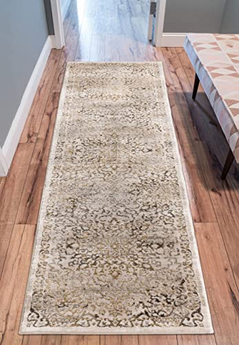 Well Woven Coverly Gold Beige Vintage Medallion Traditional Persian Oriental 3×10 2 7 x 9 10 Runner Area Rug Neutral Modern Shabby Chic Thick Soft Plush Shed Free