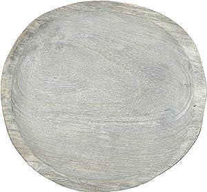 Creative Co-Op Decorative Paulownia Wood Gray Wash Tray, Grey