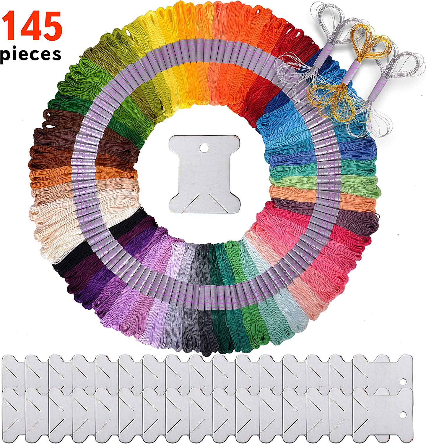 Friendship Bracelet Thread Making Kit Including Deluxe Gold and Silver Strings Bobbins Ideal Gift for Girls Premium 145 Piece Embroidery Floss and Cross Stitch Kit DMC Color Card