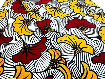 Amazon Com 2 Yards White Red Petals African Fabric Ankara Real
