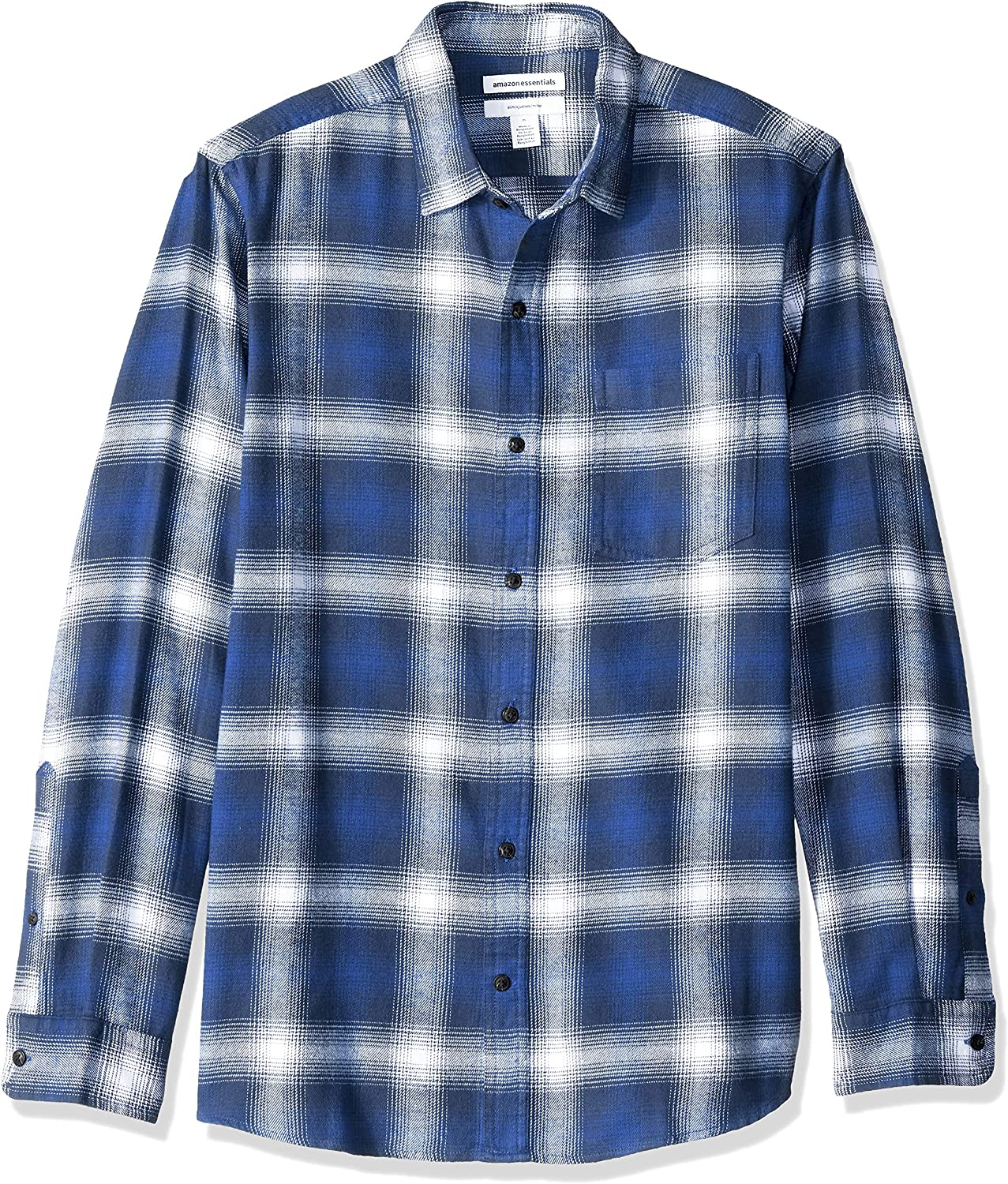 Essentials Men's Slim-Fit Long-Sleeve Flannel Shirt: Clothing