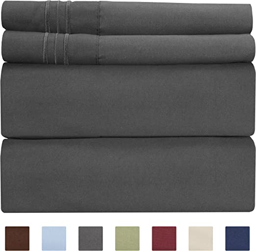 6 Deep Pockets Wrinkle Free Sage Stripe Bed Sheets Comfy Hotel Luxury Bed Sheets Sheets Easy Fit Extra Soft Full Size Sheet Set Breathable /& Cooling 4 Piece Set 4 PC