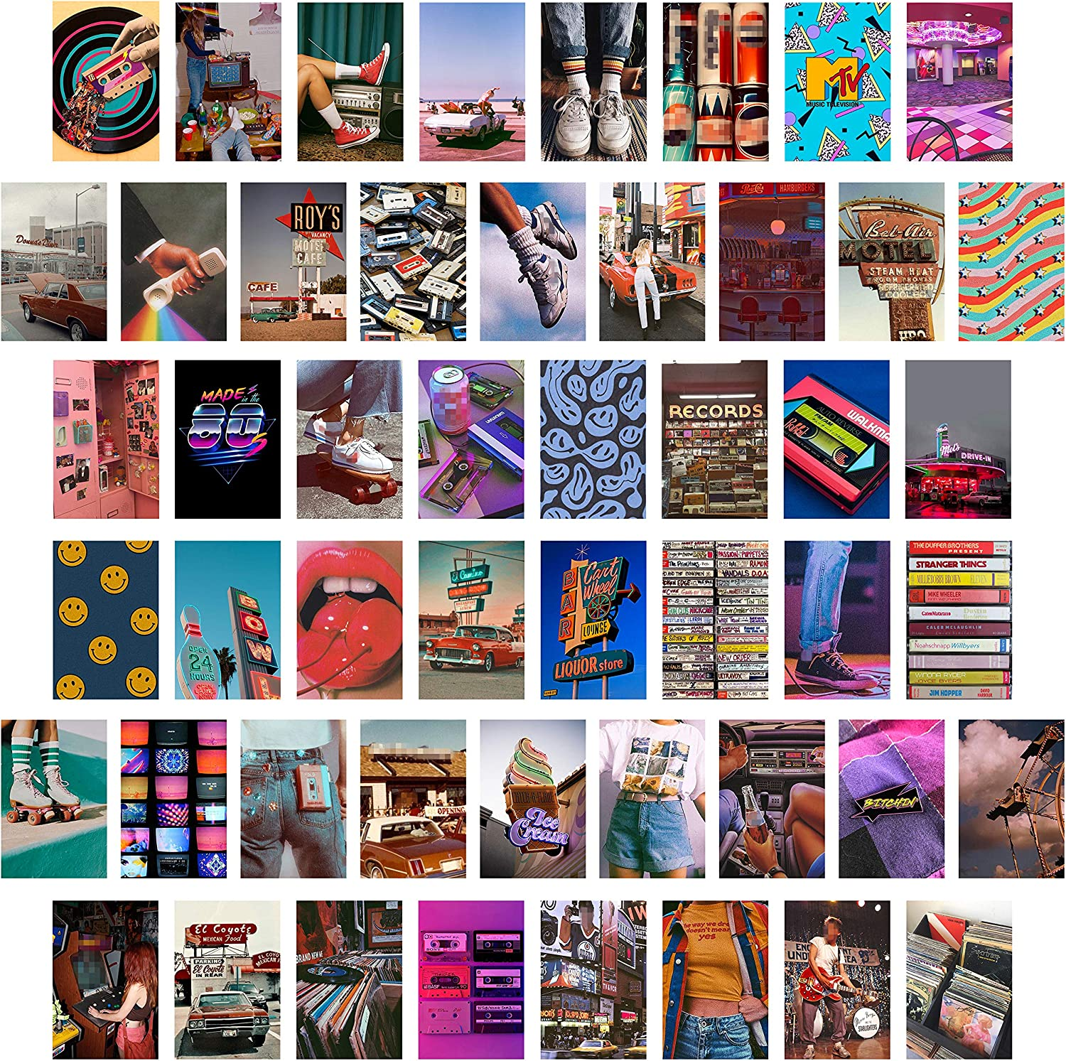CY2SIDE 50PCS Retro 80s Aesthetic Picture for Wall Collage, 50 Set 4x6 inch, Colorful Collage Kit, Retro Room Decor for Girls, Wall Art Prints for Room, Dorm Photo Display, VSCO Posters for Bedroom