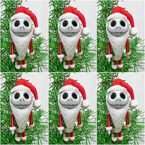 nightmare before christmas 6 piece red mini jack skellington christmas tree ornament set around 2quot - Jack Skellington Christmas Decorations