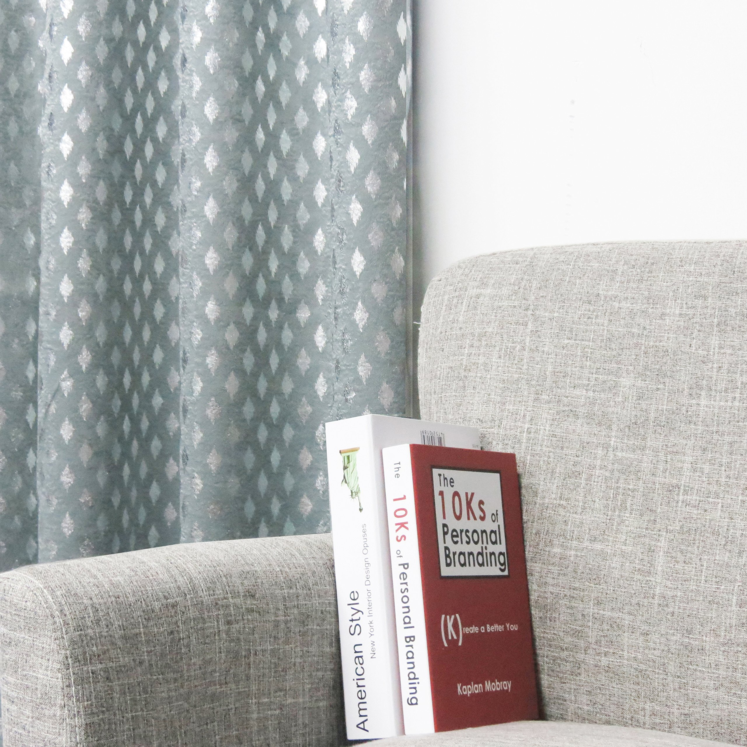 SUO AI TEXTILE Raindrop Suede Like Metallic Silver Print Darkening Window Treatment Thermal Insulated Curtains (Two Panels, 54x63, Spa) by SUO AI TEXTILE (Image #3)