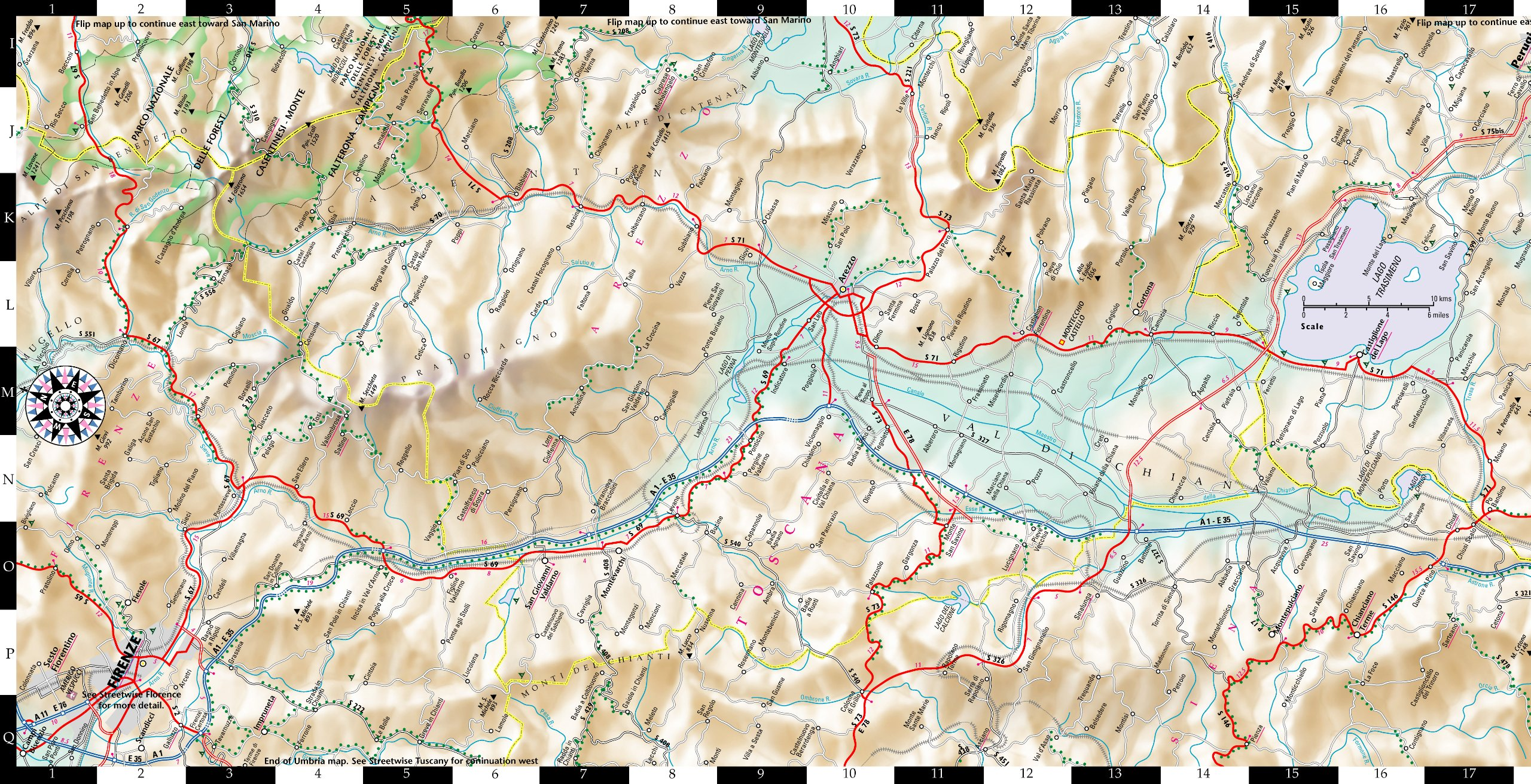 Streetwise Umbria Map Laminated Road Map of Umbria Italy