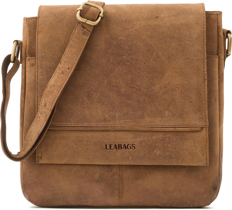 LEABAGS Washington genuine buffalo leather shoulder bag in vintage style Brown