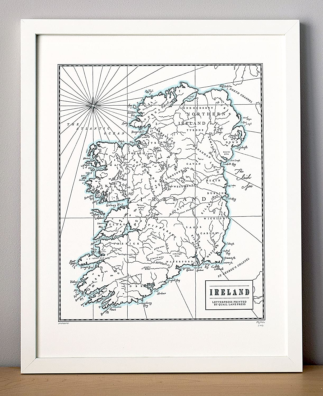 Ireland Letterpress Map Unframed Our shop New item most popular Print