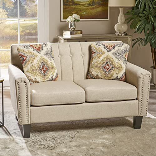 Christopher Knight Home Jasmine Traditional Fabric Loveseat, Wheat Dark Brown