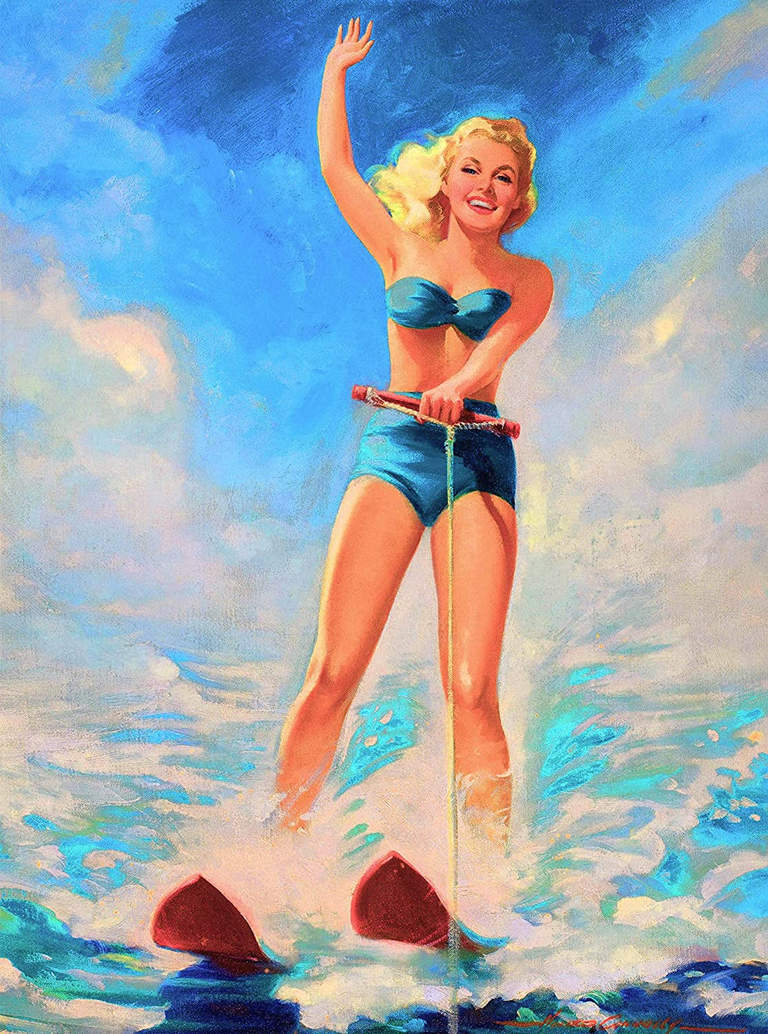 A SLICE IN TIME 1940s Pin-Up Girl Let's Water Ski Picture Poster Print Art Vintage Pin Up. Poster Measures 10 x 13.5 inches