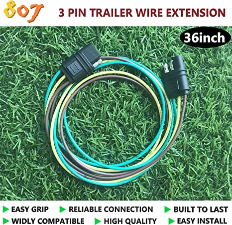 807 2 3 4 5 6 8 pin trailer connector(3 way flat), 2 3 4 5 6 8 way trailer wire extension 36inchs for led brake tailgate light bars,hitch light 8 pin trailer connector 8 pin trailer wiring harness #5