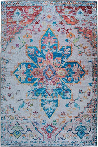 Mylife Rugs Traditional Vintage Non Slip Machine Washable Medallion Distressed Printed Area Rug