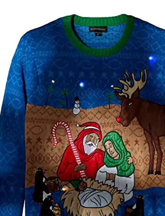 Blizzard Bay Men's Light up North Pole Nativity Scene Ugly Christmas Sweater, Blue/Green/Brown, Small