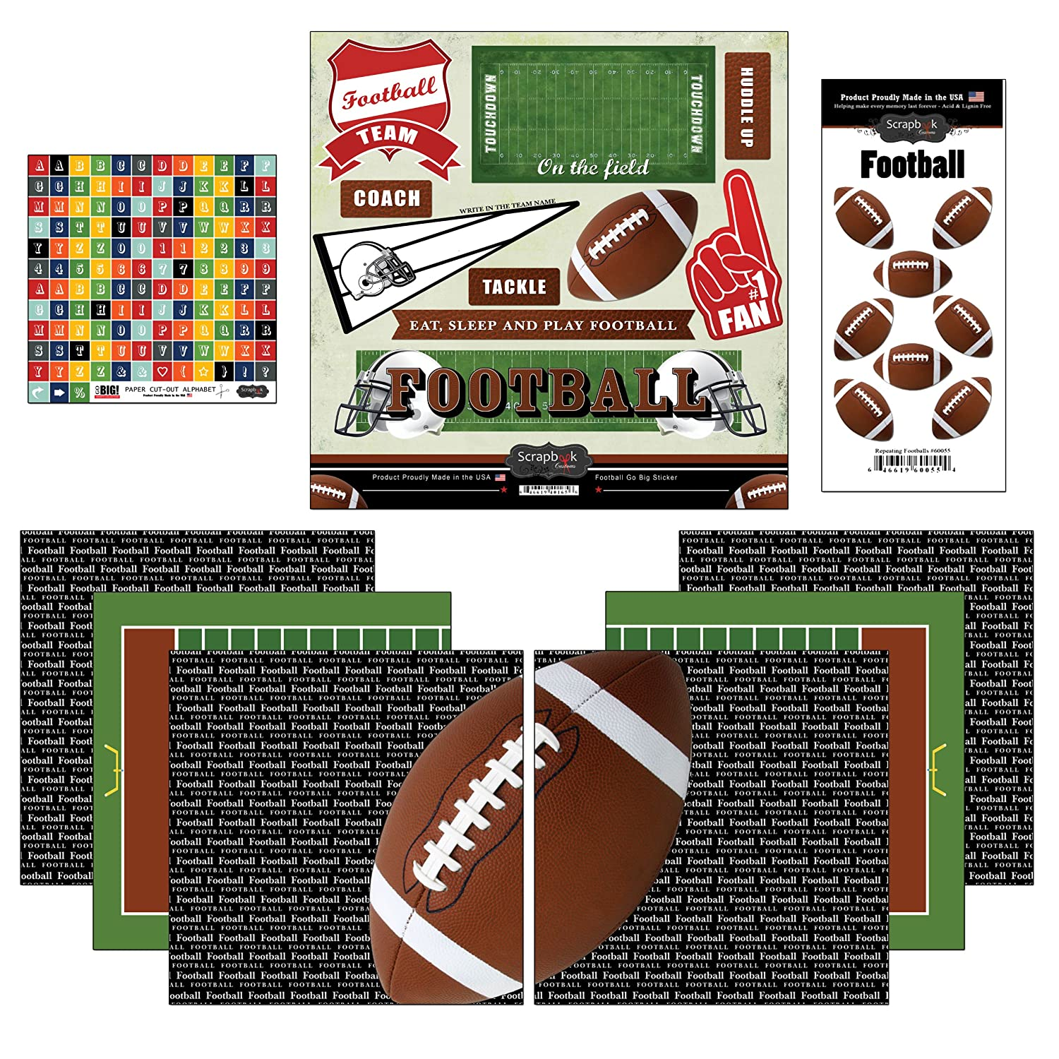 Scrapbook Customs Go Big Football Themed Paper and Stickers Scrapbook Kit Inc. 17486