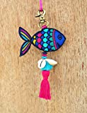 "V Living Cotton, Acrylic, Brass Fish Tassel, Handmade, Boho Bag Charm, Tribal, Bohemian, Moroccan (Multicolor, 6"" or 15 Cms)"