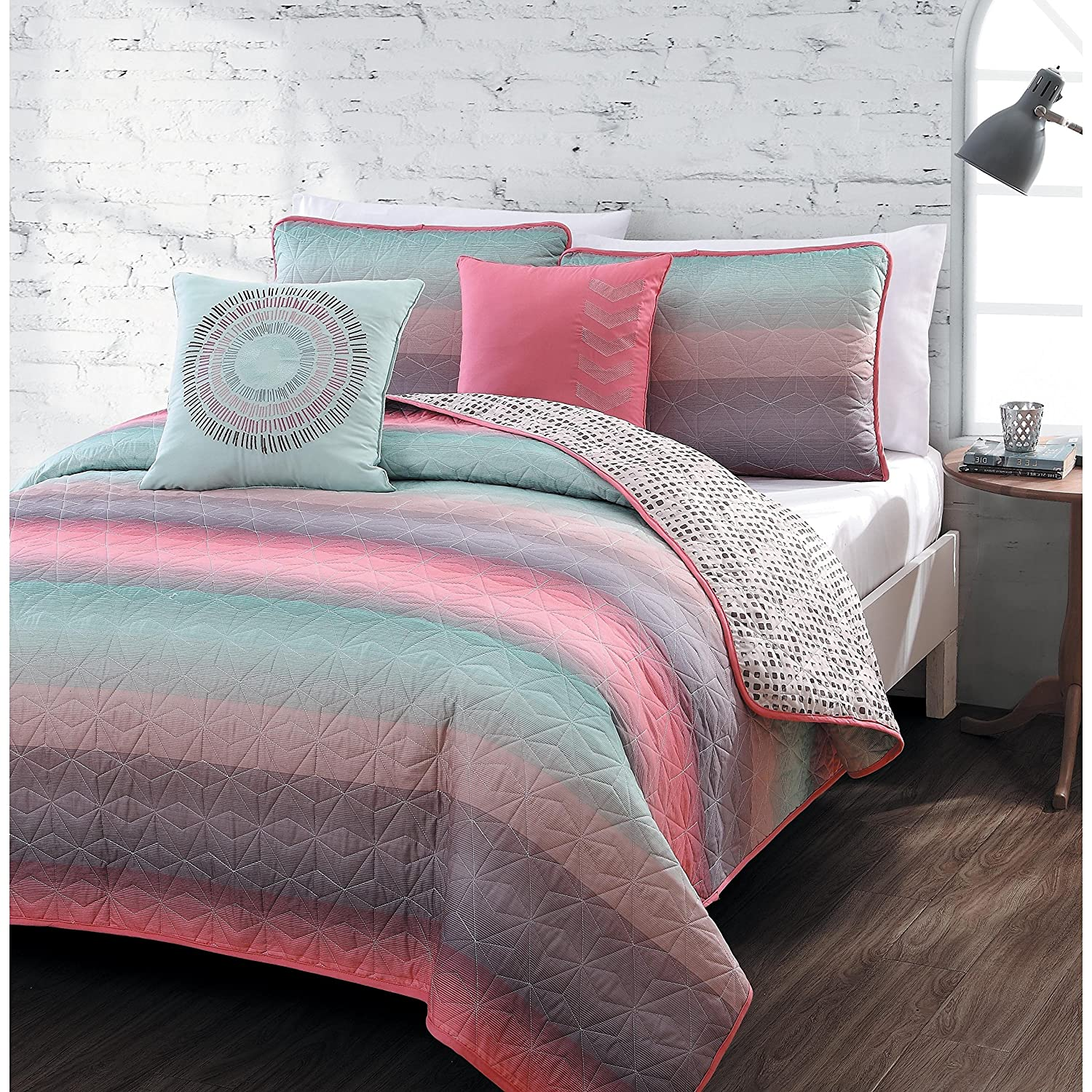 5-piece Queen Quilt Set for Girls Beautiful Coral Pink, Teal Blue, Violet, Colorful, Microfiber Bedding for Teens or Students, Fusion Starburst Stripe Across Pattern