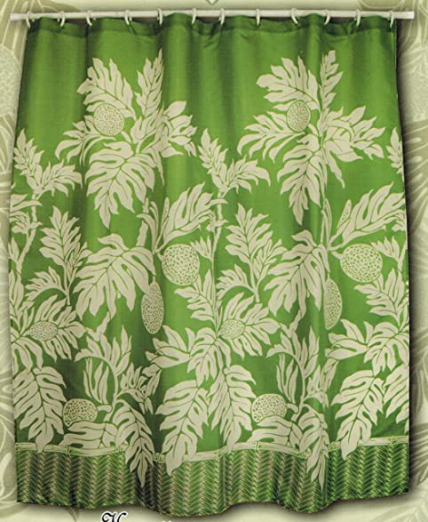 Amazon.com: Hawaiian Tropical Fabric Shower Curtain ( breadfruit ...