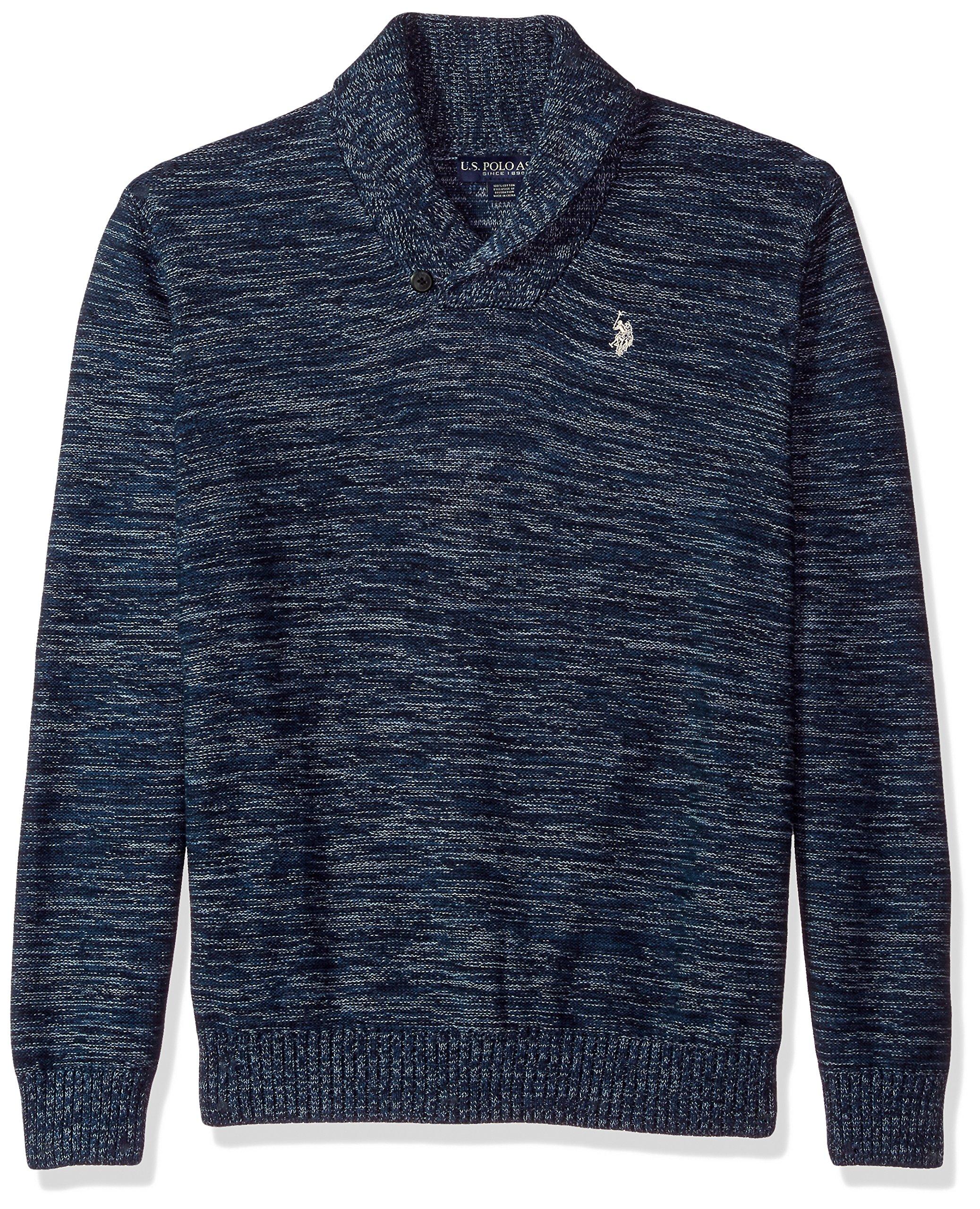 U.S. Polo Assn. Men's Reverse Jersey Shawl Collar Sweater, Sailor MARL, Large