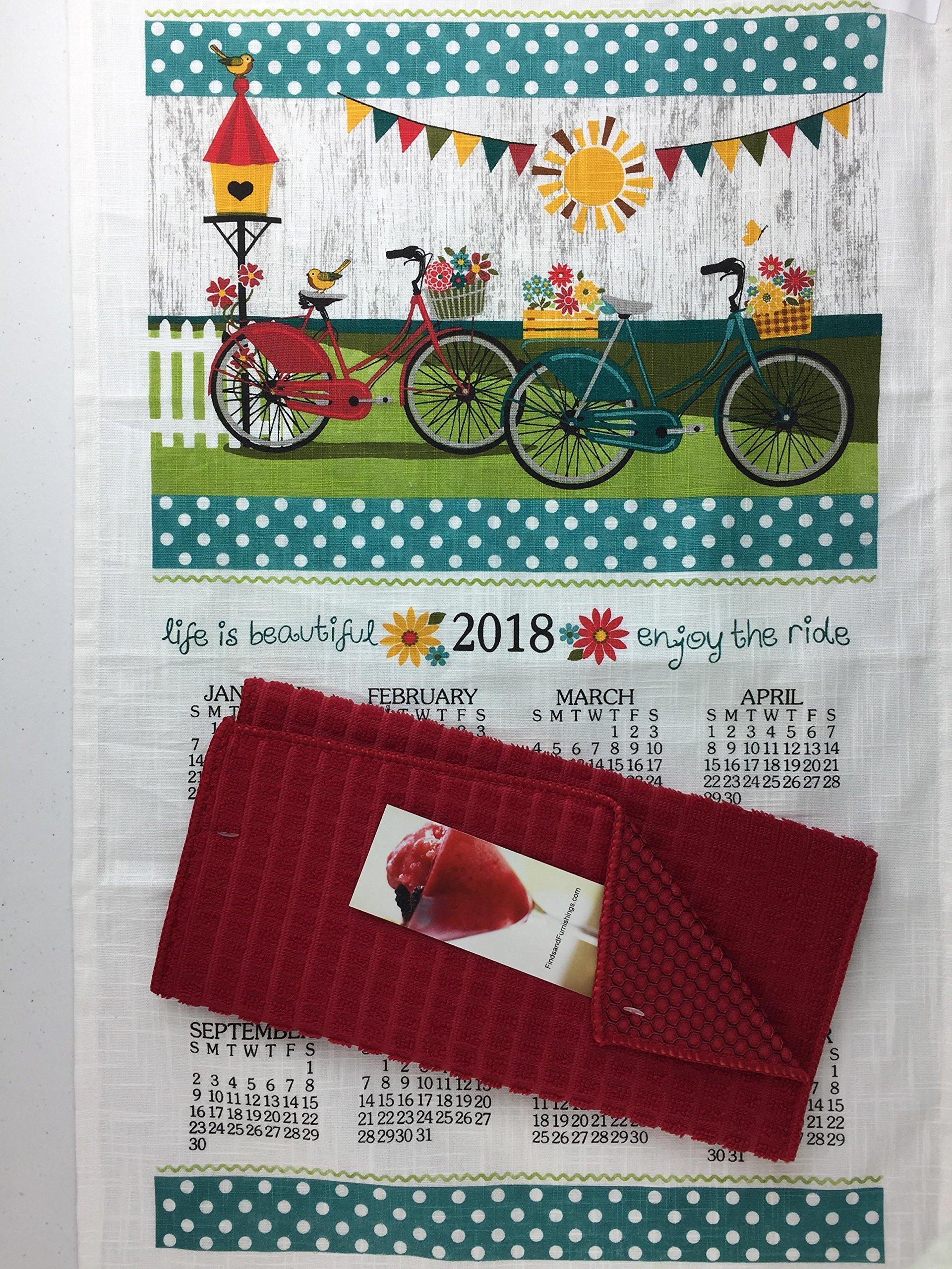 Finds and Furnishings 2018 Enjoy The Ride Kitchen Dish Towel Calendar & Kitchen Drying Mat Bundle Kitchen Linen Calendar Towel and Kitchen Dish Drying Mat 3 Piece Bundle