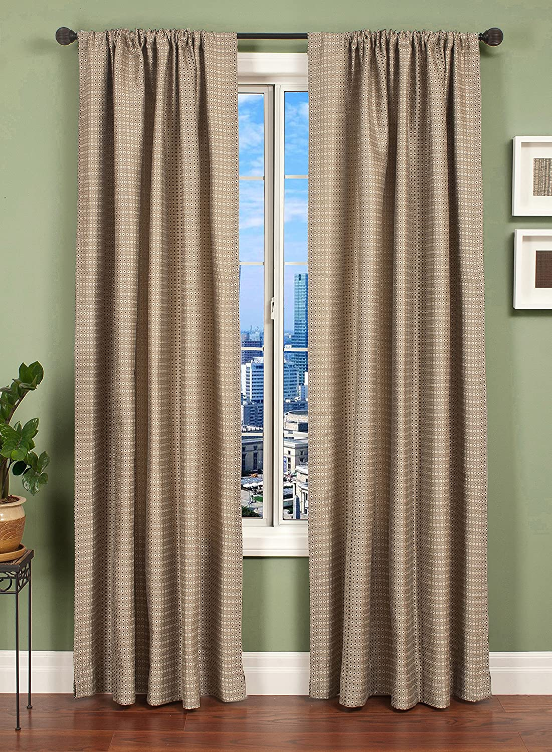 Softline Home Fashions CAVCpwtr108RP Ariel Circle Single Curtain Panel Pewter
