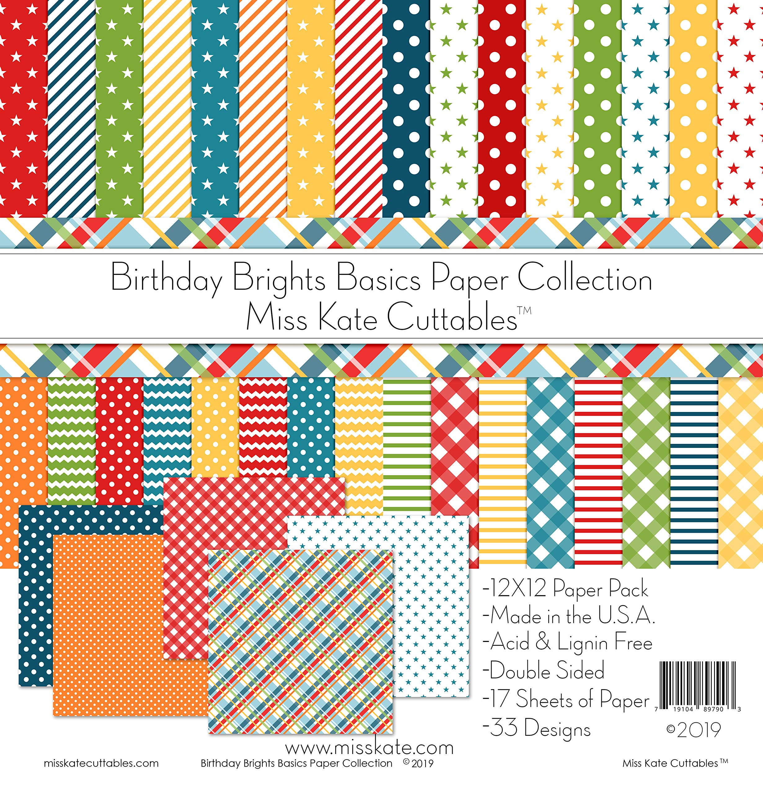 Pattern Paper Pack - Birthday Brights Basics - for Party - 17 Double-Sided 12''x12'' Collection Includes 34 Patterns - Scrapbooking Card Making Crafting - by Miss Kate Cuttables by Miss Kate Cuttables