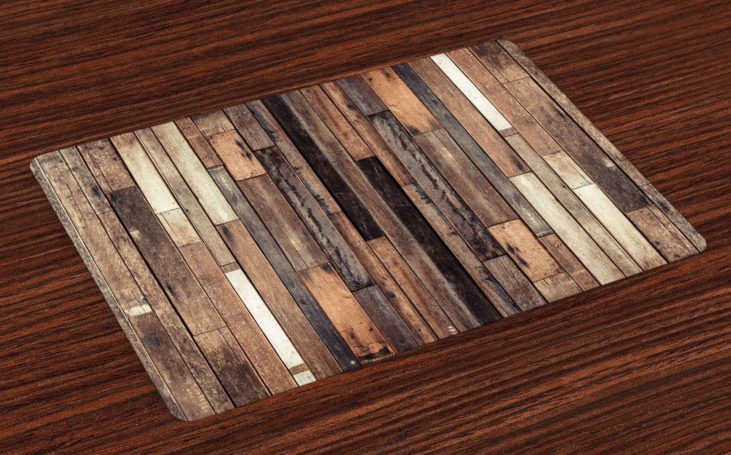 Ambesonne Wood Print Placemats Set of 4, Brown Old Hardwood Floor Plank Grunge Lodge Garage Loft Natural Rural Graphic Artsy Print, Washable Fabric Placemats for Dining Room Kitchen Table Decor, Brown
