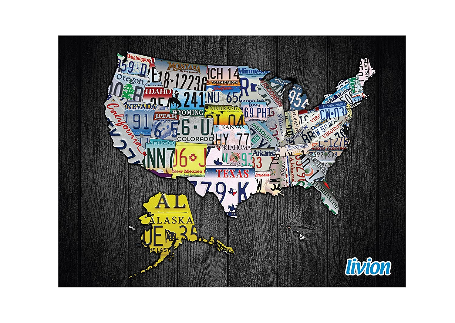 License Plate State Map.Amazon Com Travel Map Of Usa Large Personalized To Reveal Each