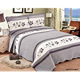3pcs All Season Embroidery Quilts Bedspread Bed Coverlets Cover Set, King Size, Grey