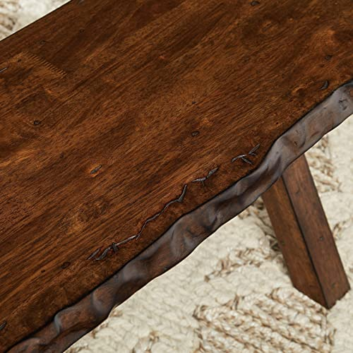 The Mezzanine Shoppe Mandeville Mid Century Wooden Dining Bench, 47.6 , Brown