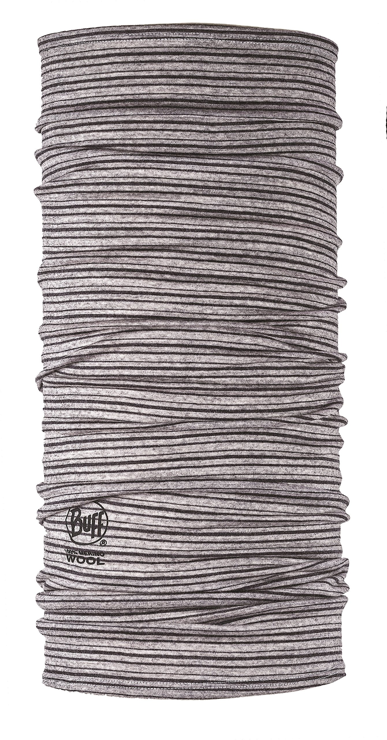 Buff Lightweight Merino Wool Multifunctional Headwear, Light Grey Stripes, One Size