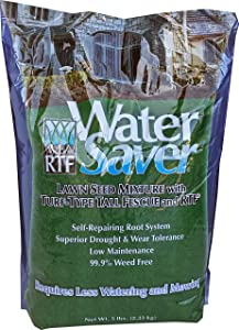 WaterSaver Grass Mixture with Turf-Type Tall Fescue Used to Seed New Lawn and Patch Up Jobs - Grows in Sun or Shade, 5 lbs - covers 1/50 Acre