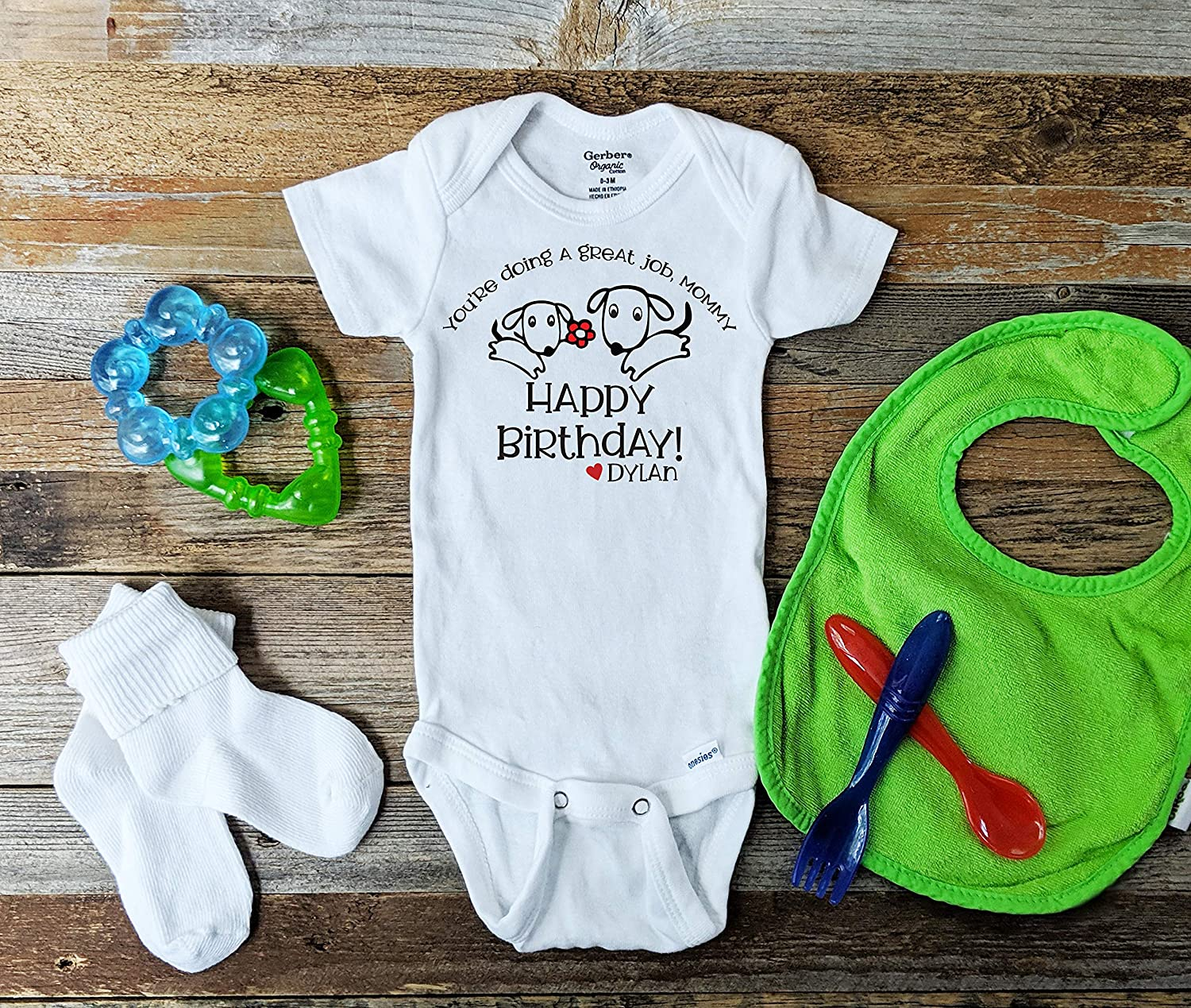 baby vest Happy Birthday Daddy personalised with child/'s name funny bodysuit