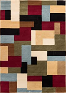 Well Woven Barclay River Red Modern Geometric Area Rug 6'7'' X 9'6''