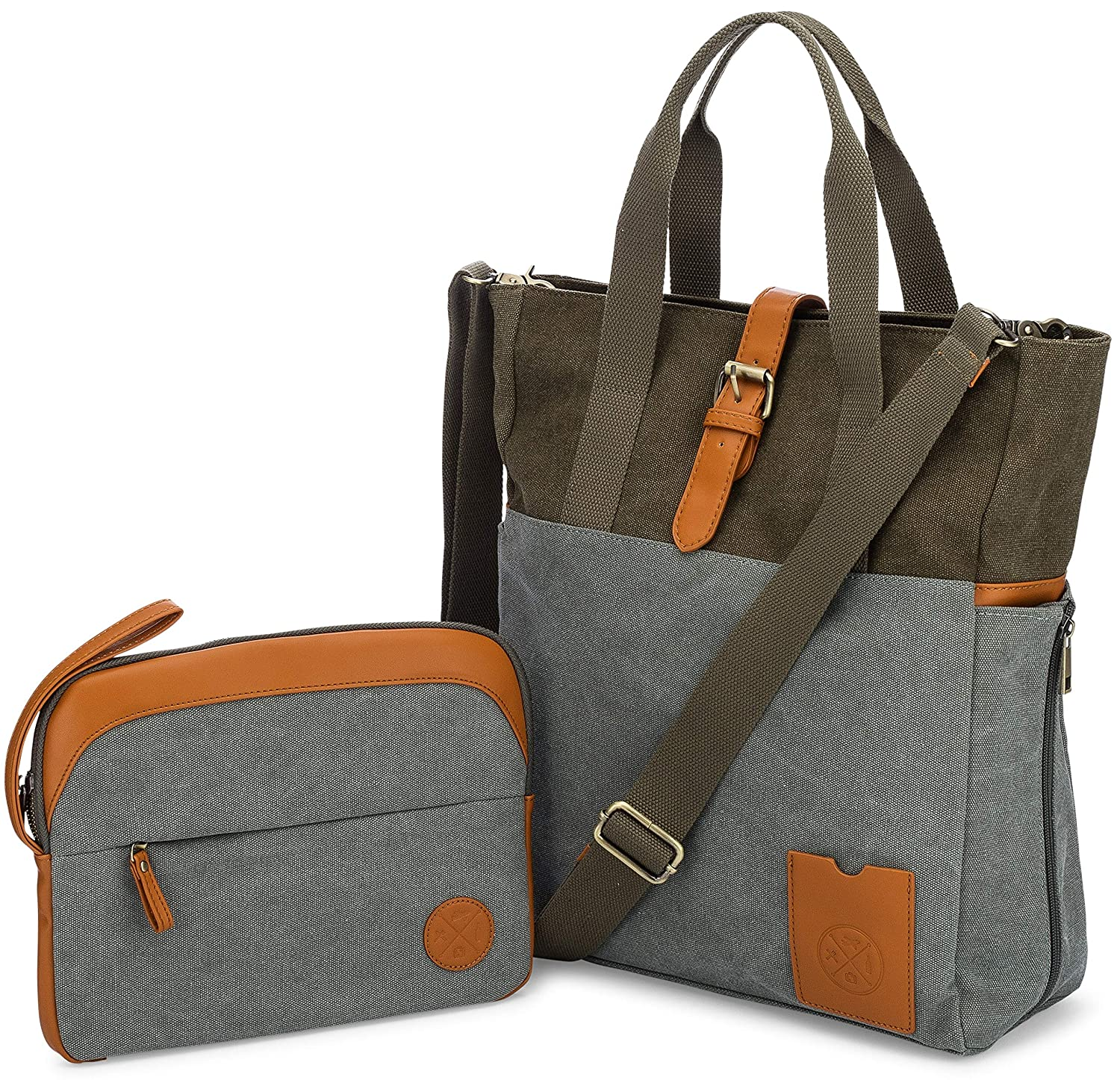 81720f4d60ce Amazon.com   LAPTOP BAG for Women with Crossbody Strap and matching Small  Purse - Large Canvas Tote Bag for Women - Work Bags for Women with Multiple  ...