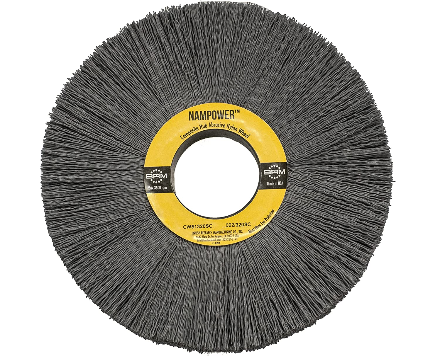 0.040 Wire Diameter 6 Diameter 0.040 Wire Diameter 2 Arbor Hole 6 Diameter Brush Research CW61040120SC Nampower Composite Hub Abrasive Nylon Wheel Brush Round Hole Silicon Carbide Filament 2 Arbor Hole 1.5 Bristle Length, Pack of 1