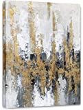 Yihui Arts Modern Abstract Skyline Canvas Wall Artwork with Gold Foil for Office Decoration