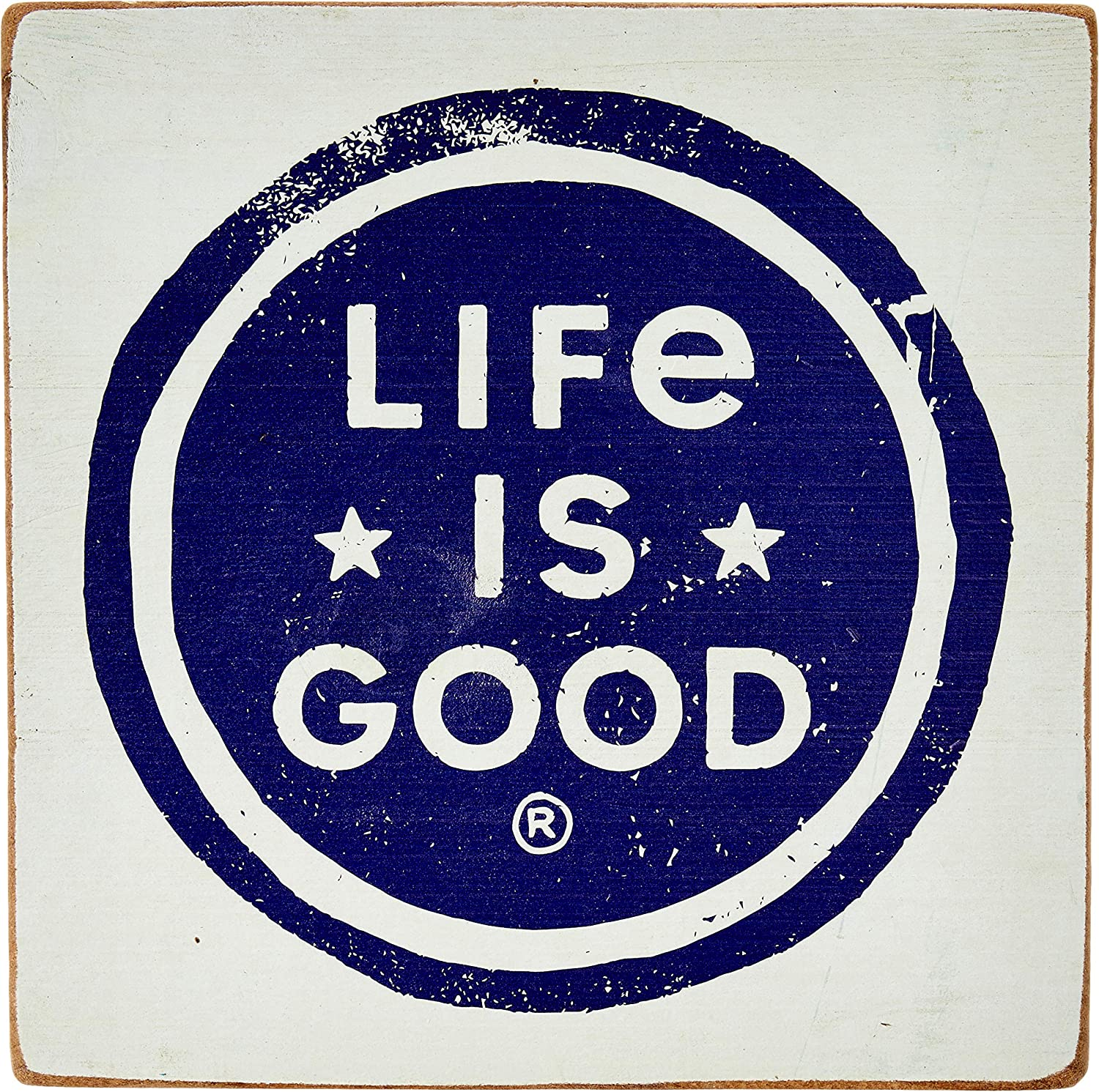 Life is Good Large Wooden Sign Life is Good Coin, Bermuda Blue, One Size