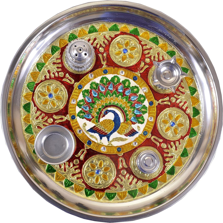 Hand Painted Beautiful Steel Classic Pooja Thali,Decorative Puja Thali with 5vatis,Great Gift IDEA for Wedding Decorations,Gifting,Ganpati,Rakhi,Navratri