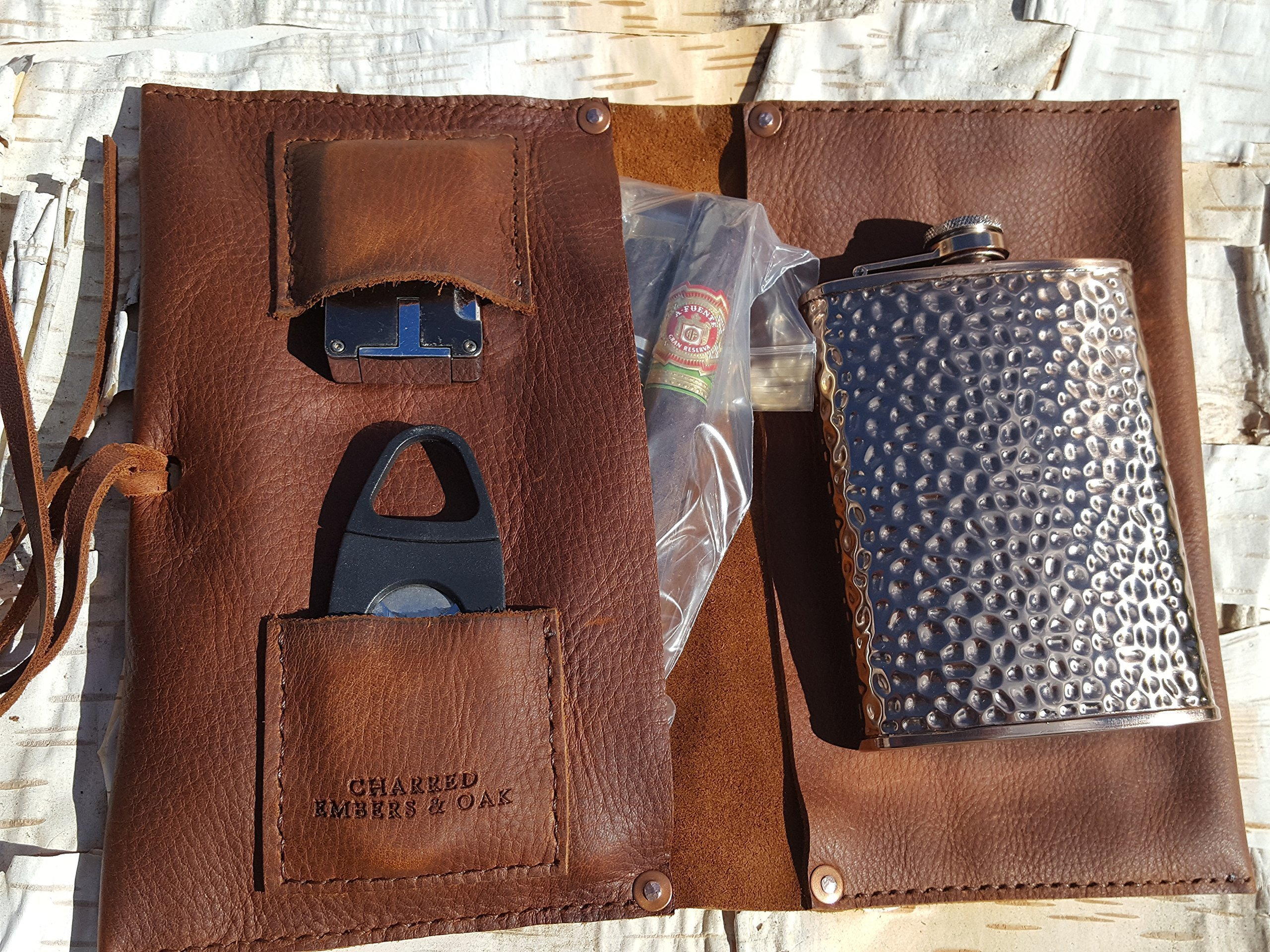 Large Leather Cigar Case w/ Hammered Copper Flask by Charred Embers & Oak